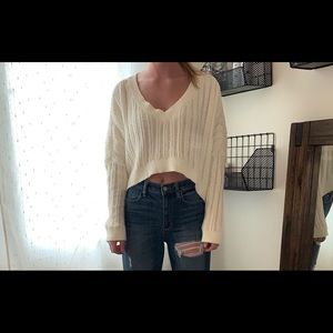 Urban Outfitters Cropped Cream Sweater Size Small